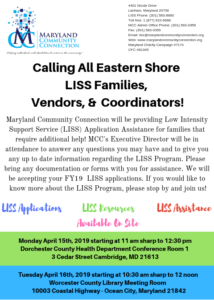 Eastern Shore LISS Assistance on April 15th and 16th, 2019